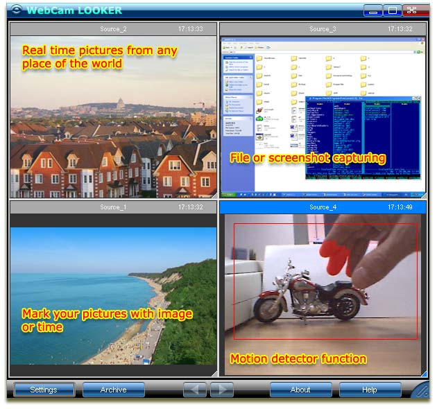 WebCam Looker - video surveillance software with motion detector