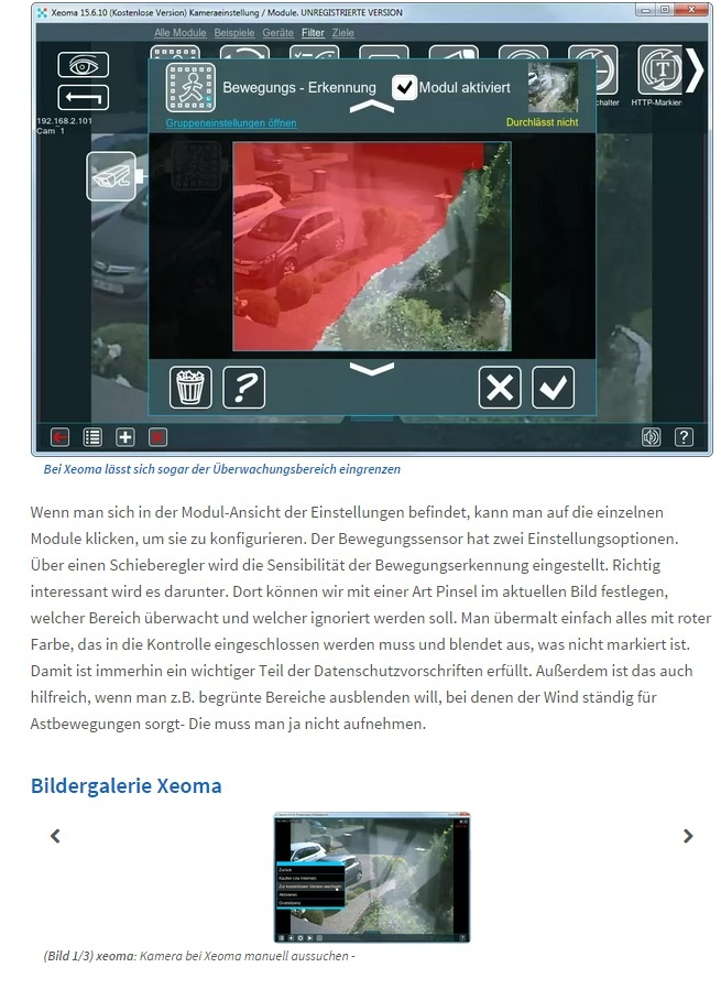How to connect webcams to Xeoma (German language)