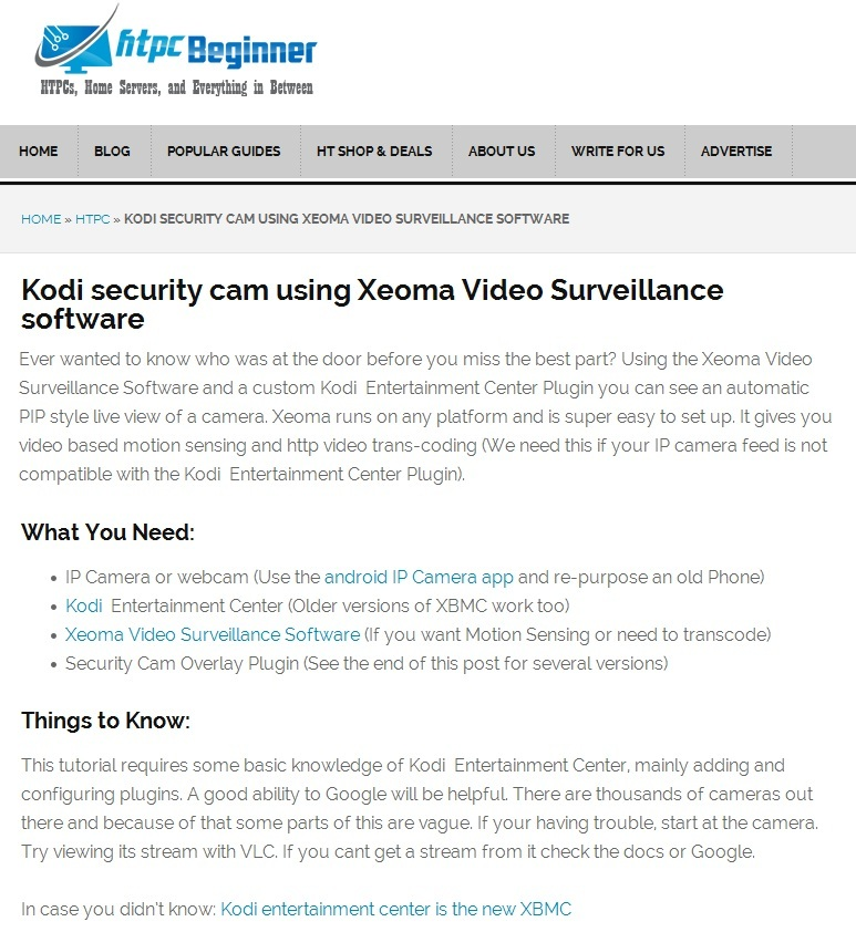 Kodi security cam and Xeoma software