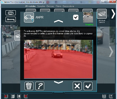 Specify the detection area in the ANPR module