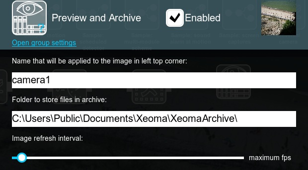Expand advanced settings to change the path to store archive recordings of Xeoma CCTV system to