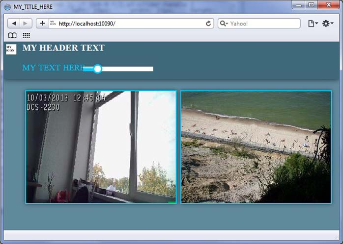 Web server customization in IP camera software Xeoma: An example of a customized page