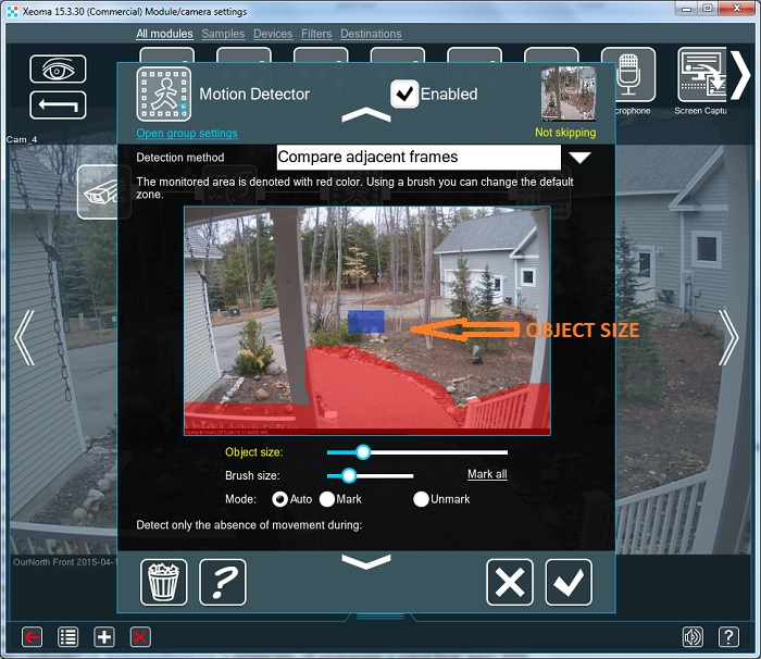 Ged rid of false alarms in Xeoma CCTV software