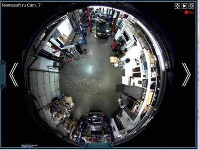 Fisheye camera view.