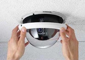 IP camera mounted on a wall for high quality camera video surveillance