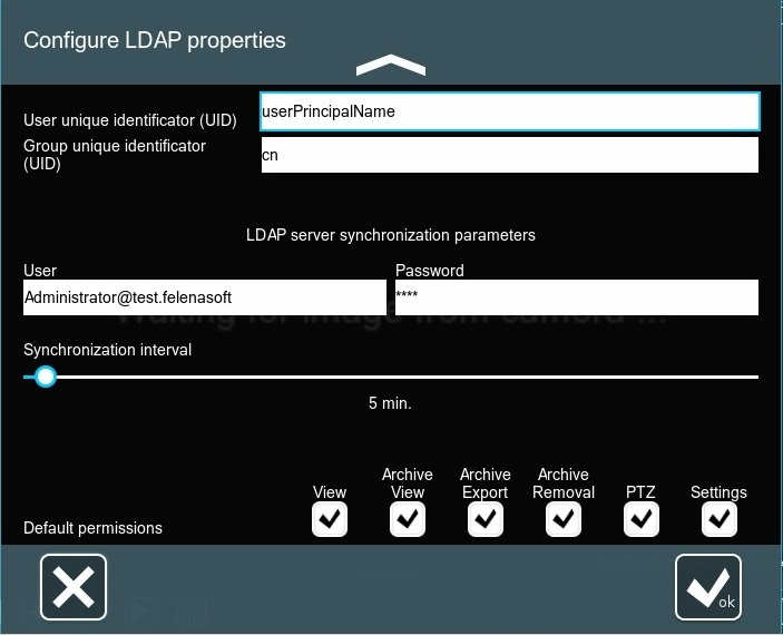 Configure LDAP account in Xeoma video surveillance program's special active directory synchronization dialog