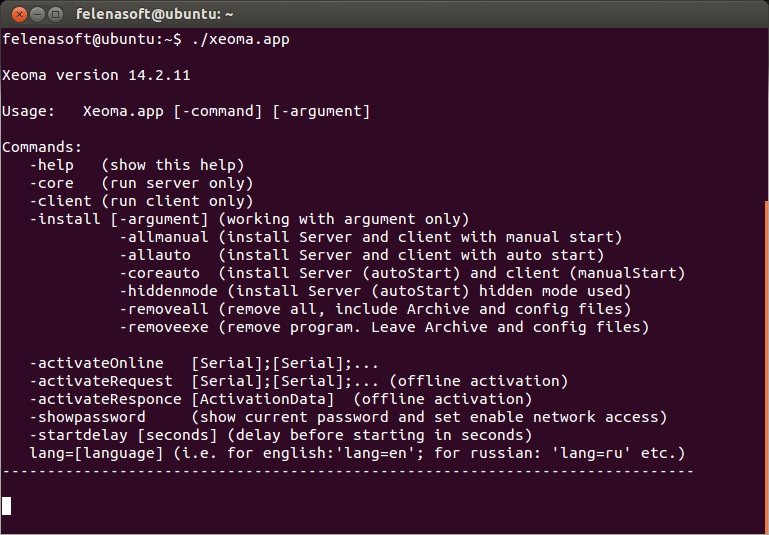 User manual for Xeoma Linux surveillance software for Linux without graphical shell: Short help displayed when accessing Xeoma file