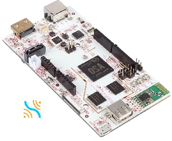 Any micropc from the pcDuino3 Series is powerful enough to process several video surveillance cameras, for example, with Linux ARM compatible CCTV software Xeoma