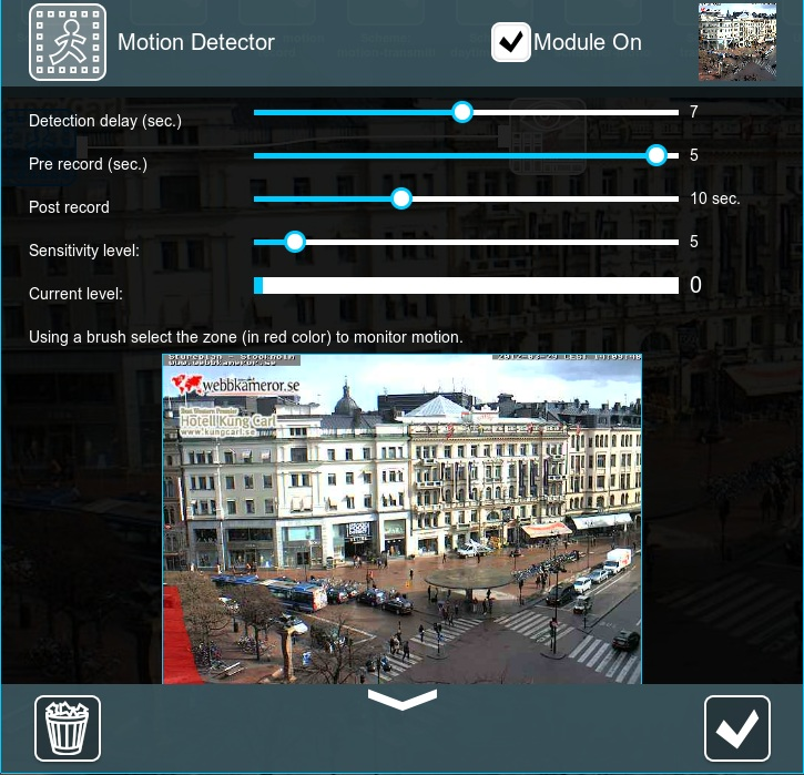 Motion detection in Xeoma. Motion detector settings: sensitivity level, current sensitivity level, prerecording and postrecording duration, recording delay