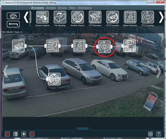 PTZ tracking for PTZ security cameras in video surveillance systems with Xeoma