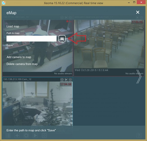 Upload map or plan of the facility into Xeoma security camera system