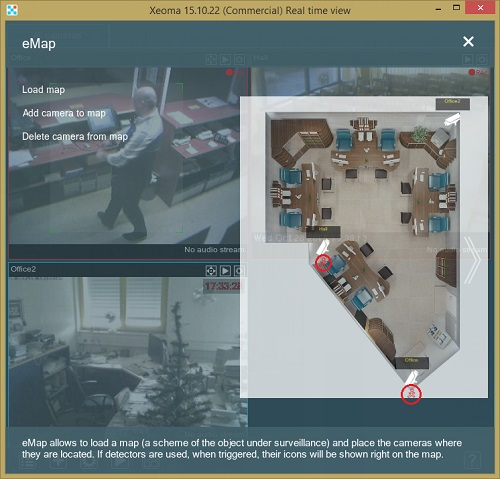Xeoma security camera system: Triggered motion detector on eMap
