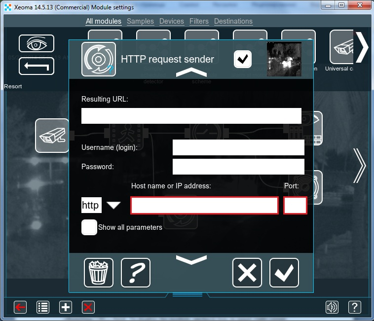 IP and port settings of HTTP request sender in Xeoma IP security cameras software
