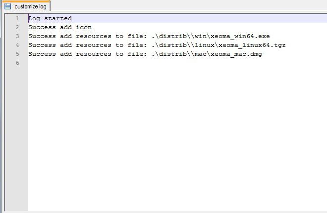 Бесплатный ребрендинг от Xeoma: лог утилиты кастомизации покажет ошибки или сообщение об успешном завершении кастомизации