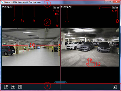 Interface of main window in Xeoma webcam app