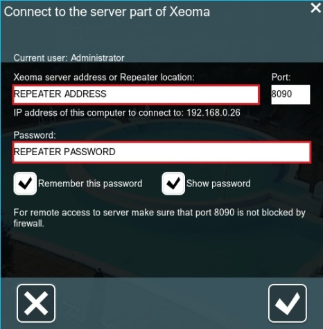 Xeoma server part connection setup via Repeater