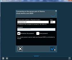 Введите данные для подключения к Облачному видеонаблюдению Xeoma Cloud из полученного письма в диалог подключения Xeoma