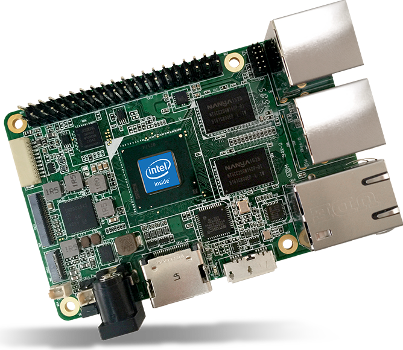 AAEON UP single board computer based on Intel Atom CPU that works with Raspberry Pi extension boards