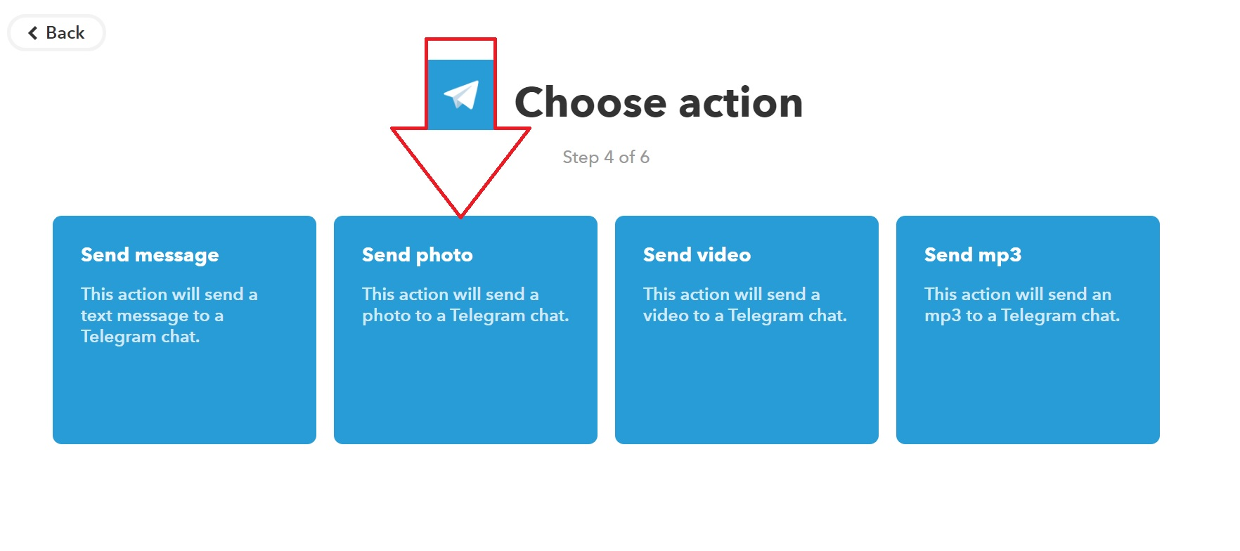 To send photos to Telegram from Xeoma, choose the corresponding option in the IFTTT service