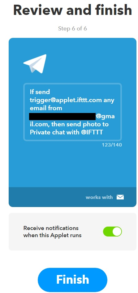 Check if you set up email preferences and chose to send photos to Telegram in the IFTTT service