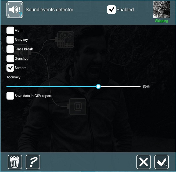 Settings are easy for sounds recognition in Xeoma video surveillance program