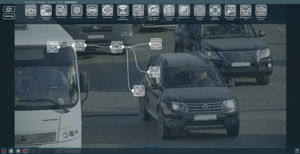 Vehicle speed detector in a modules' chain