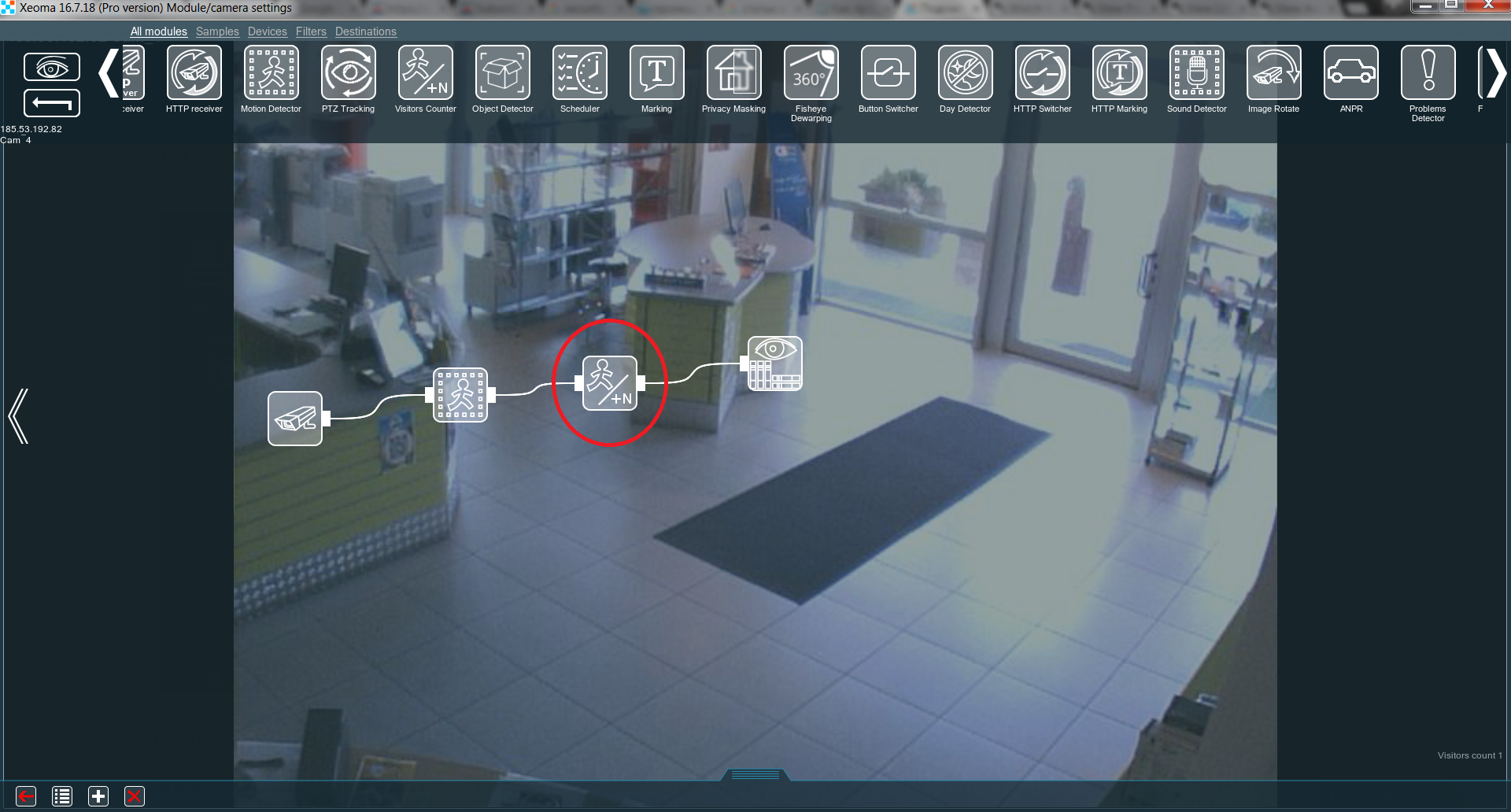 "Place the ""Visitors Counter"" after the ""Motion Detector"" in your chain"