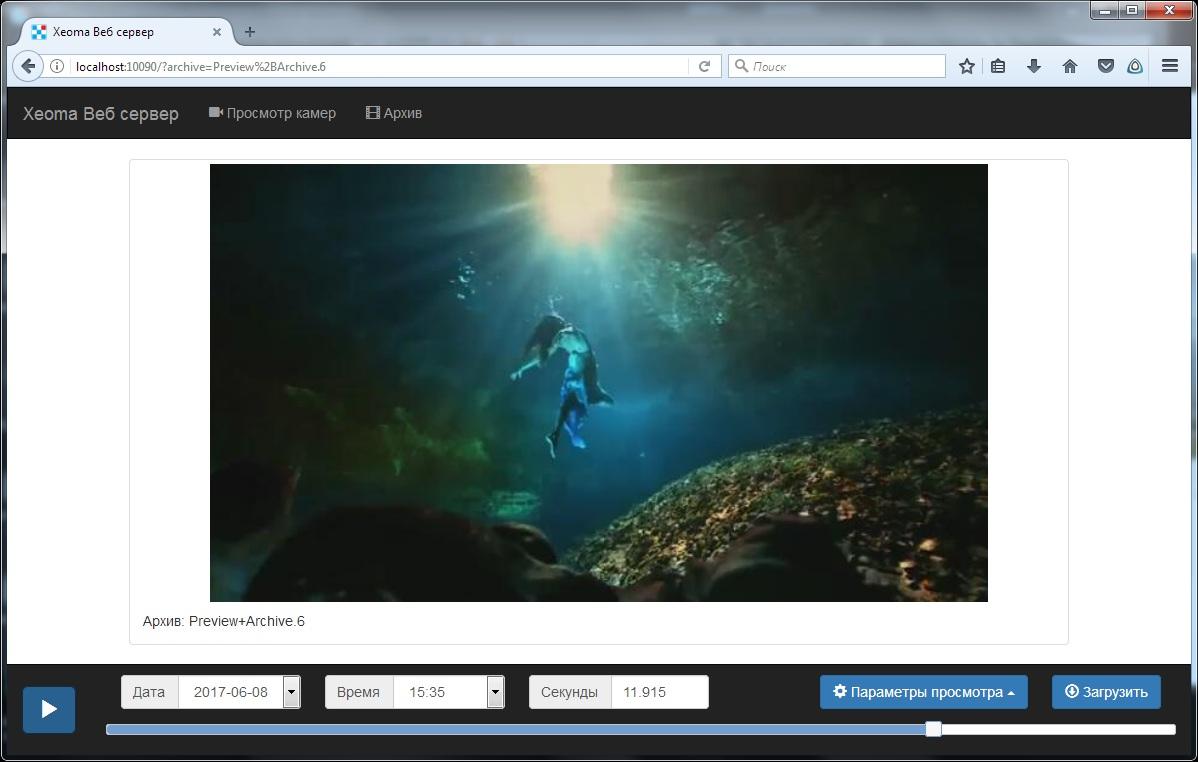 Просмотр архивов через браузер в Xeoma