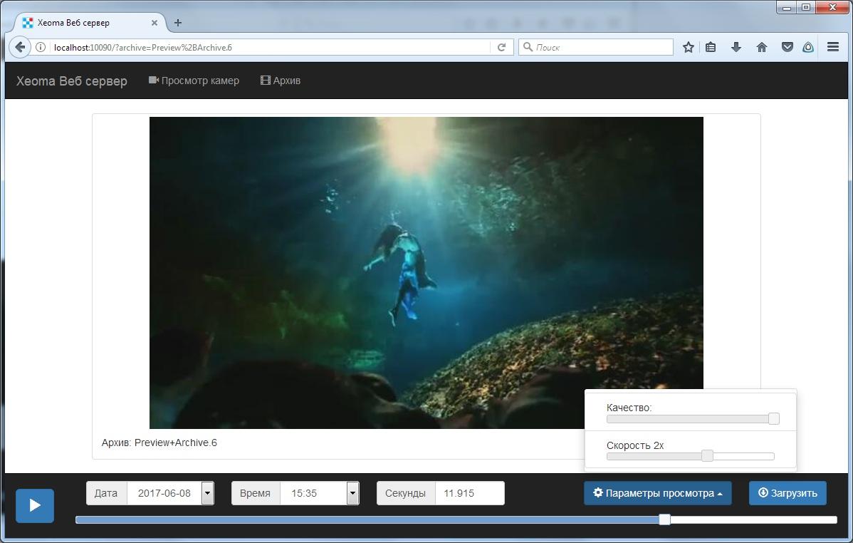 Настройки просмотра архива через браузер Xeoma