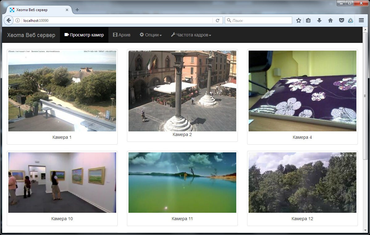 Главная страница просмотра камер через браузер Xeoma