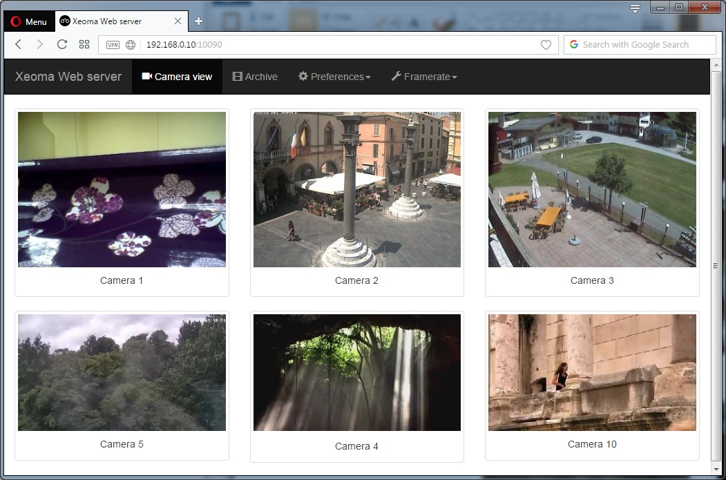 With Xeoma web camera software you can view all your cameras in one place