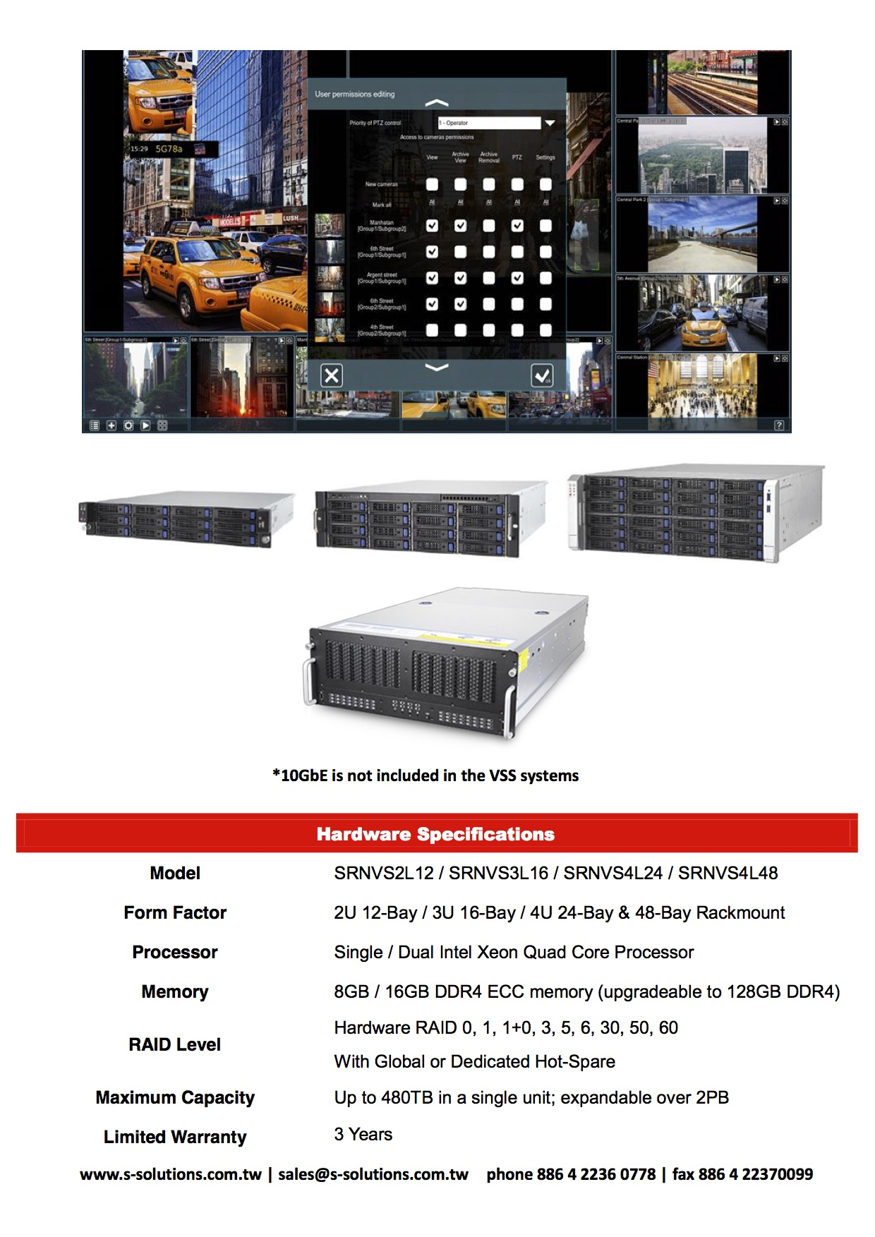 S Solutions SRN Video Surveillance Storage (VSS) Series DM 2016