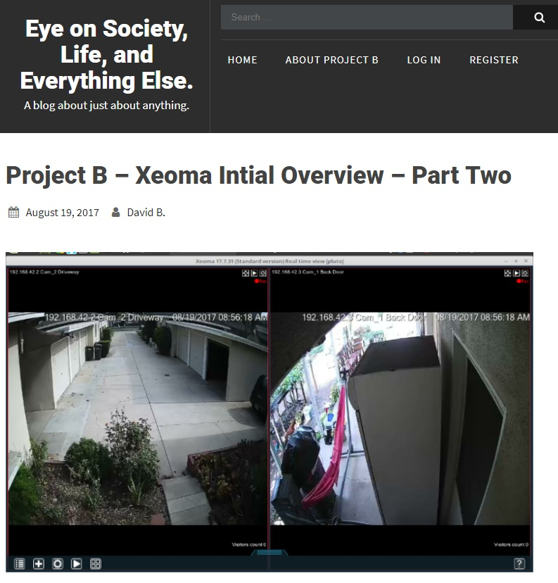 Project B – Xeoma Intial Overview – Part Two