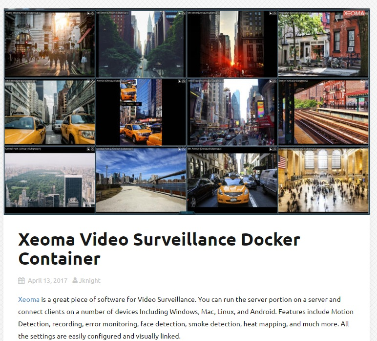 Xeoma Video Surveillance Docker Container.