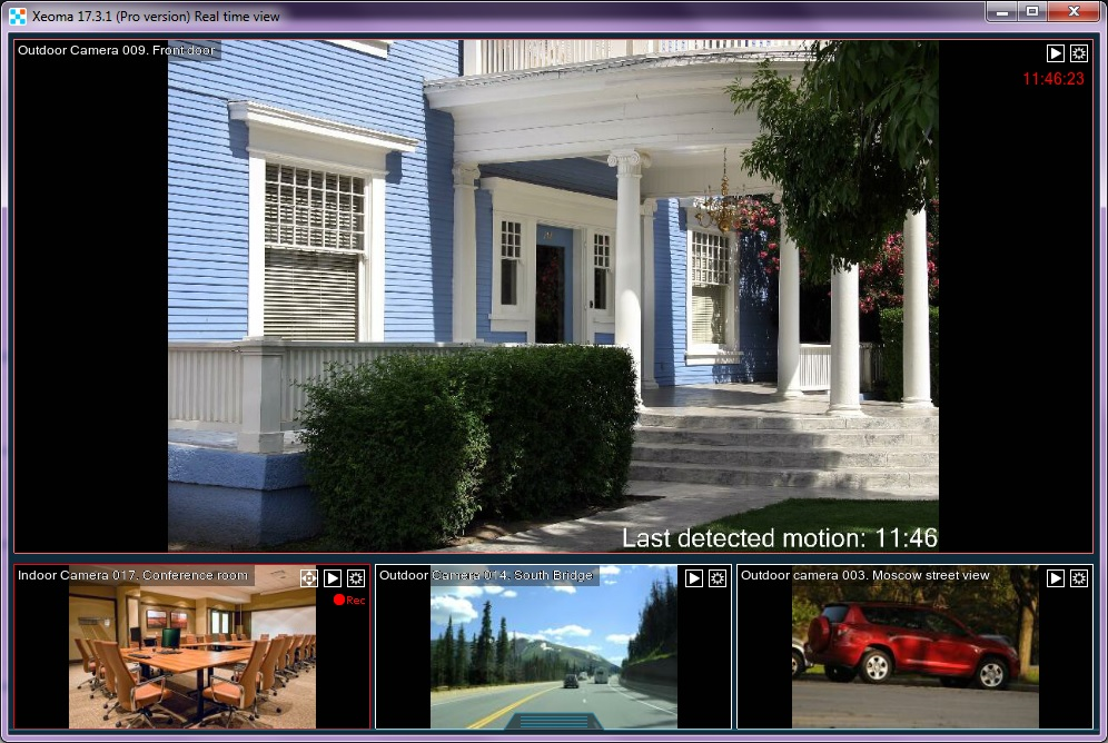 Xeoma - cctv software with a handy device list for grouping of cameras and easy navigation