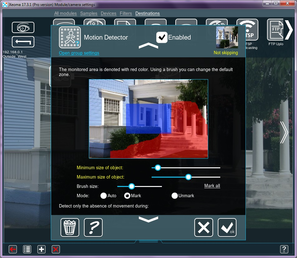 Xeoma cctv software with motion and light detector